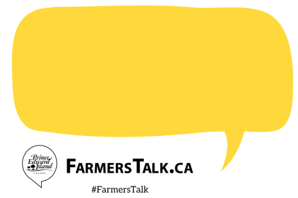 Yellow talking bubble with FarmersTalk.ca logo