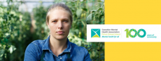 Image of female farmer in green house setting with CMHA logo