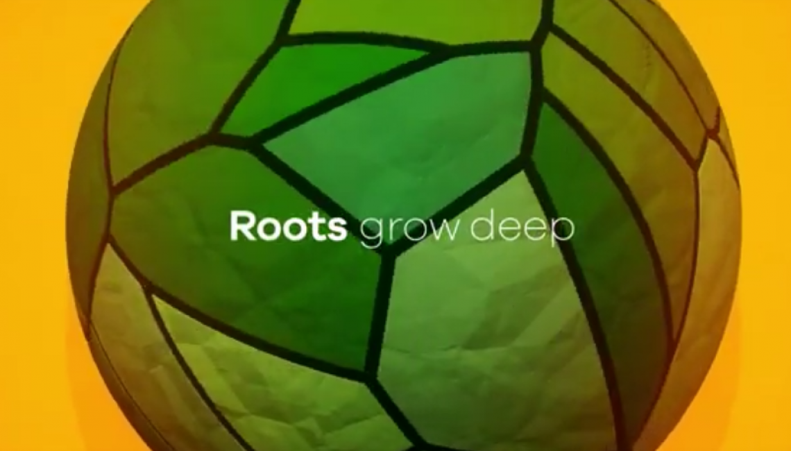 "Screenshot of rotating patchwork ball with title of ""Roots run deep..."""